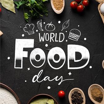Концепция надписи всемирный день еды