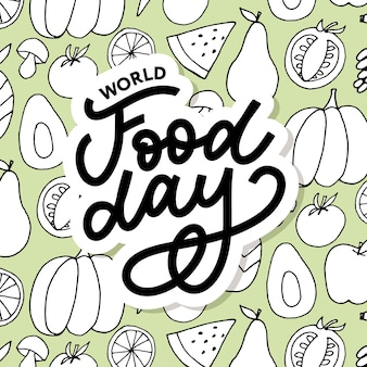 World food day lettering on food seamless pattern