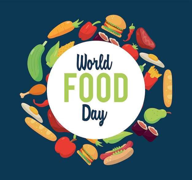 円形フレームのイラストデザインの食品と世界食料デーのレタリングポスター
