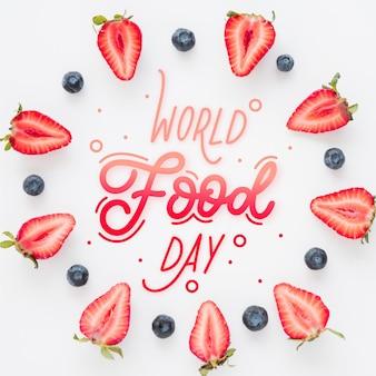 世界食の日のレタリングのテーマ