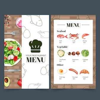 World food day menu collection for restaurant. with food watercolor illustrations.