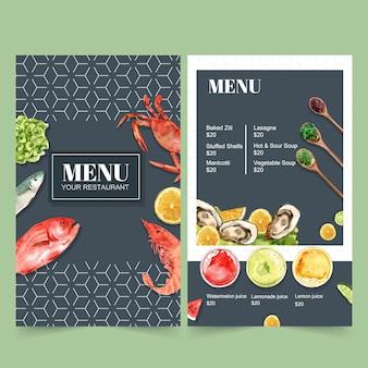レストランの世界料理の日メニュー。カニ、魚、エビの水彩イラスト付き。