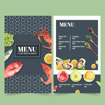 World food day menu for restaurant. with crab, fish, shrimp watercolor illustrations.