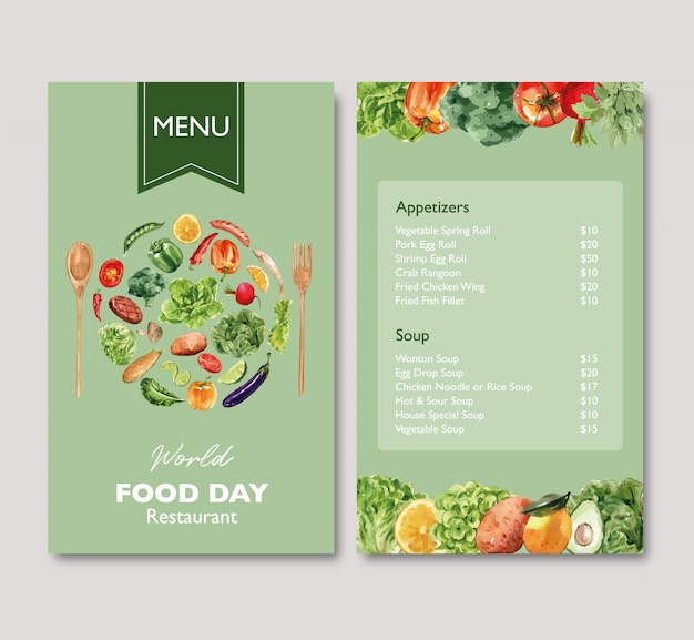 World food day menu with broccoli, beetroot, eggplant watercolor illustration.