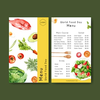 World food day menu with carrot, avocado, fish, tomato watercolor illustration.