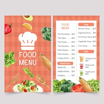 World food day menu with corn, broccoli, butterhead watercolor isolated illustrations.