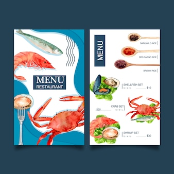 World food day menu  with crab, fish, shrimp, shellfish watercolor illustrations.