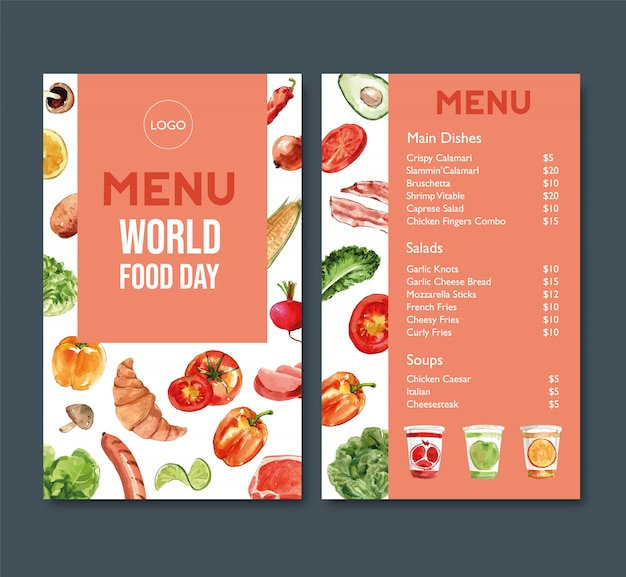 World food day menu with tomato, bell pepper, croissant watercolor illustration.