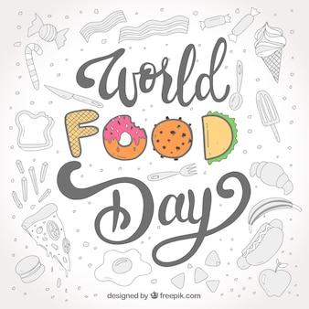 灰色がかった背景で世界の食べ物の日