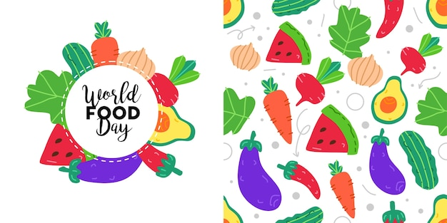 World food day poster and seamless pattern