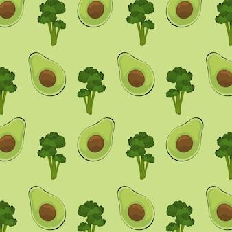 Плакат всемирного дня еды с рисунком авокадо и брокколи