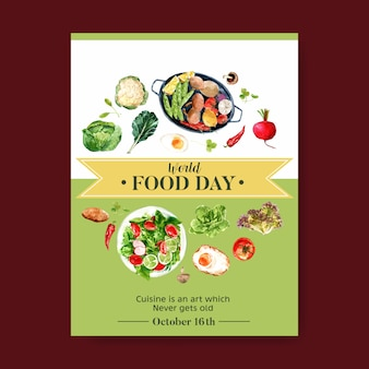 World food day poster with cauliflower, beetroot, salad, fried egg watercolor illustration.