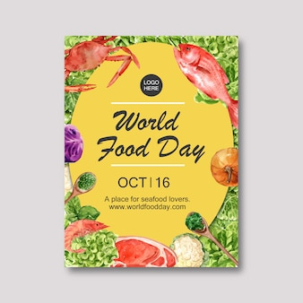 World food day poster with crab, fish, meat, pumpkin watercolor illustration.