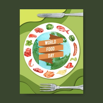 World food day poster with globe, rib, chicken, sausage watercolor illustration.