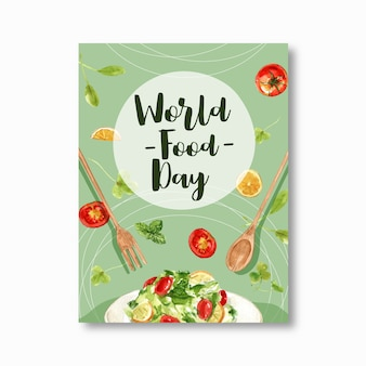 World food day poster with salad, spoon, fork, tomato watercolor illustration.