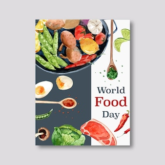 World food day poster with steak, boiled egg, lime, peas watercolor illustration.