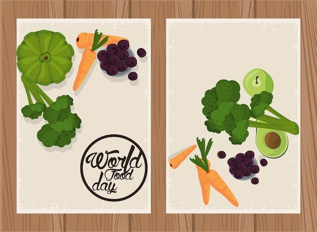 Плакат всемирного дня еды с овощами в бежевом и деревянном дизайне