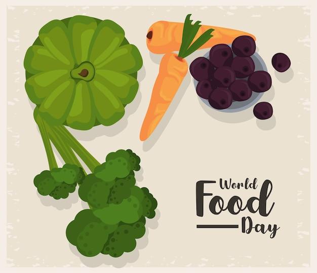Плакат всемирного дня еды с овощами в бежевом дизайне иллюстрации