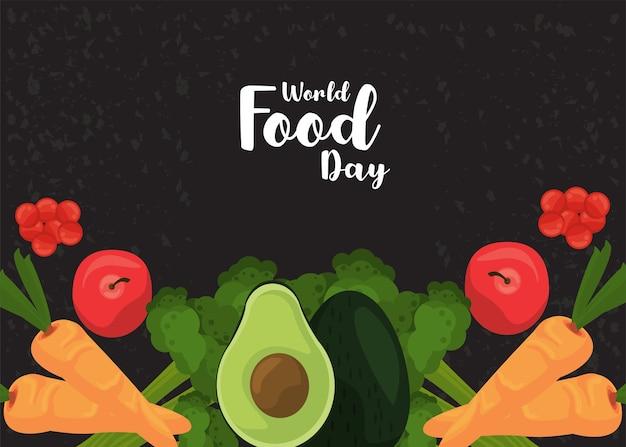 Плакат всемирного дня еды с овощами в черном дизайне иллюстрации