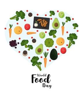 Плакат всемирного дня еды с овощами в дизайне иллюстрации в форме сердца