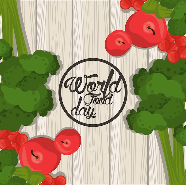 Плакат всемирного дня еды с овощами в деревянном дизайне