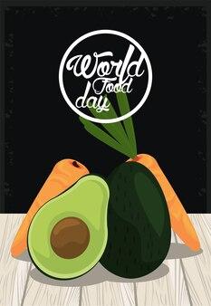 Плакат всемирного дня еды с овощами в дизайне иллюстрации деревянного стола