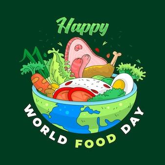 Всемирный день еды векторный фон для плакатов, баннеров, поздравительных открыток и т. д.