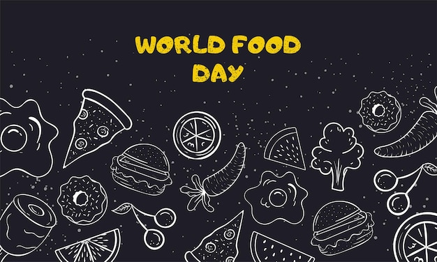 World food day vector illustration black and white doodle art on beautiful background premium vector
