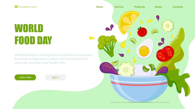 World food day vector landing page template
