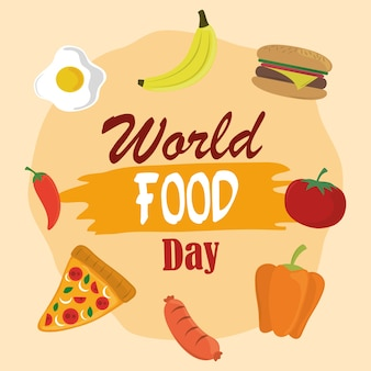 World food day, vegetable fruits burger pizza healthy lifestyle meal.
