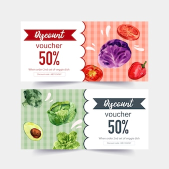 World food day voucher with broccoli, avocado, cabbage, tomato watercolor illustration.