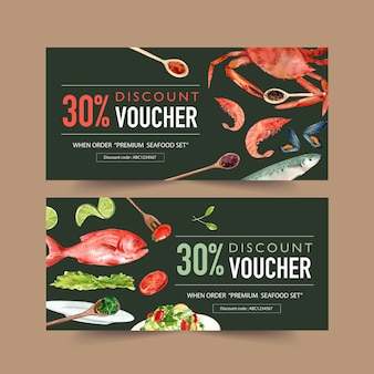World food day voucher with crab, mussels, fish, lime, salad watercolor illustration.
