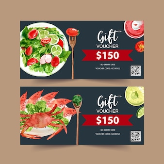 World food day voucher with crab, shrimp, prawn, broccoli watercolor illustration.