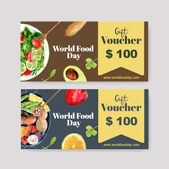 World food day voucher with cucumber, tomato, avocado, salad watercolor illustration.