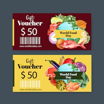 World food day voucher with fish, bell pepper, broccoli, cabbage watercolor illustration.