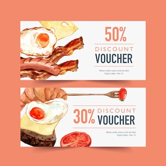 World food day voucher with fried egg, croissant, sausage, bacon watercolor illustration.