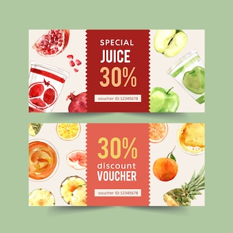 World food day voucher with pomegranate, apple, orange watercolor illustration.
