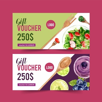 World food day voucher with salad and vegetable watercolor isolated illustration.