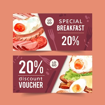 World food day voucher with sausage, fried egg, ham, bacon watercolor illustration.
