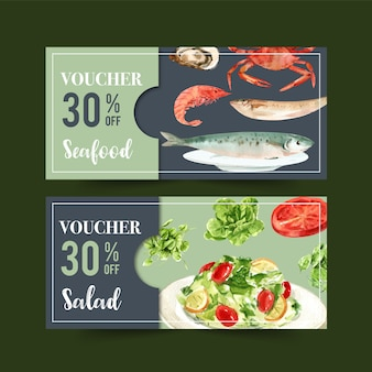 World food day voucher with shrimp, fish, crab, butterhead, tomato watercolor illustration.