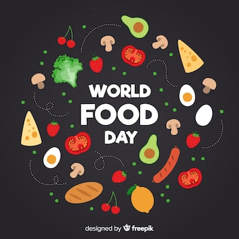 World food day with aliments  in flat design