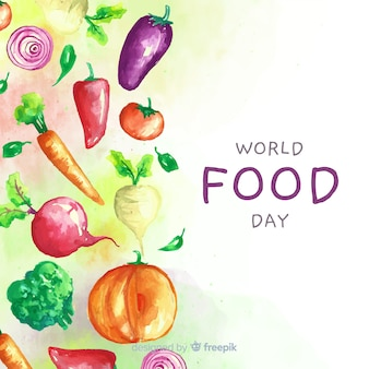 World food day with aliments watercolor design