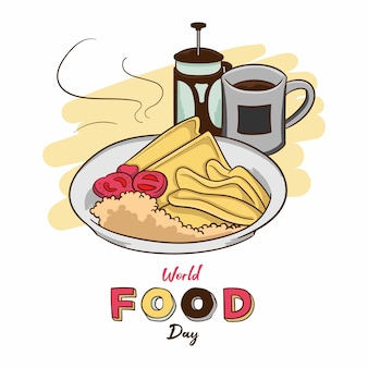 World food day with breakfast hand drawn vector illustration