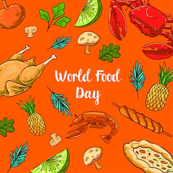 World food day with colorfull fruits, chicken and vegetables elements
