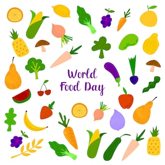 World food day with colorfull fruits, meats and vegetables elements