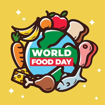 World food day with meat veggies earth planet illustration.