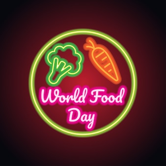 World food day with neon sign effect