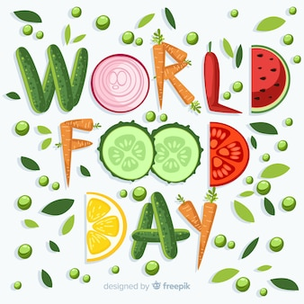World food day written with veggies