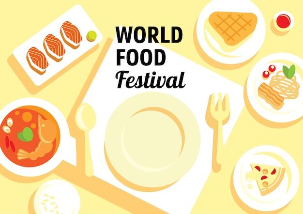 World food festival with many menu