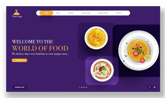 World of food landing page  with presenting different dishes on purple .